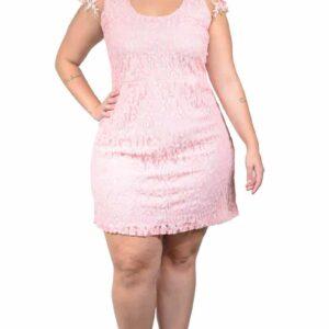 Vestido Plus Size em Renda curto Tule e Flores