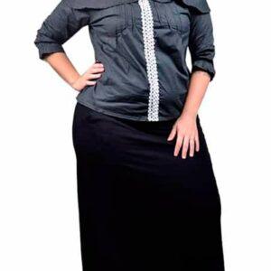 Saia Plus Size em Malha Viscolycra com Bolsos