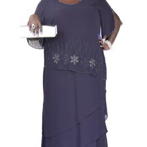 Vestido Longo Plus Size em camadas e bordado